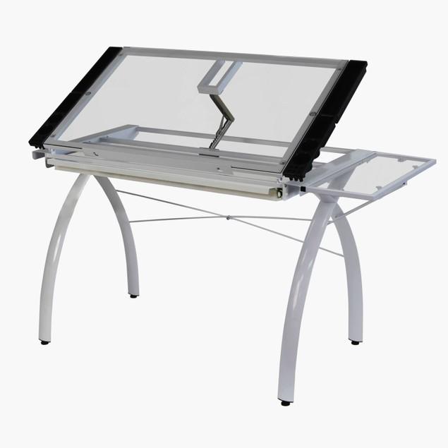 Offex Futura Craft Station with Folding Shelf Glass