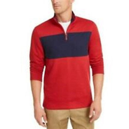Club Room Men's Quarter-Zip French Rib Pullover  Dark Blue Size Extra Large