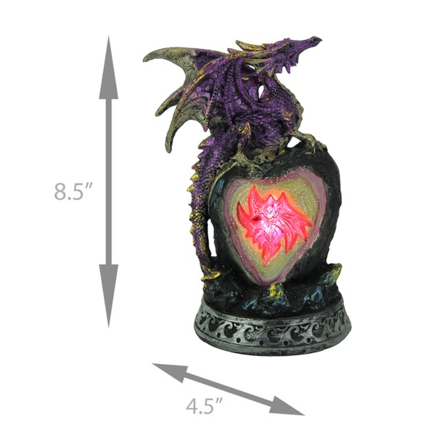 Metallic Purple Guardian Dragon On Color Changing Statues