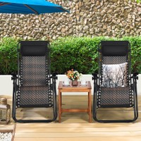 Costway 2PCS Patio Rattan Zero Gravity Lounge Chair Folding Recliner Headre