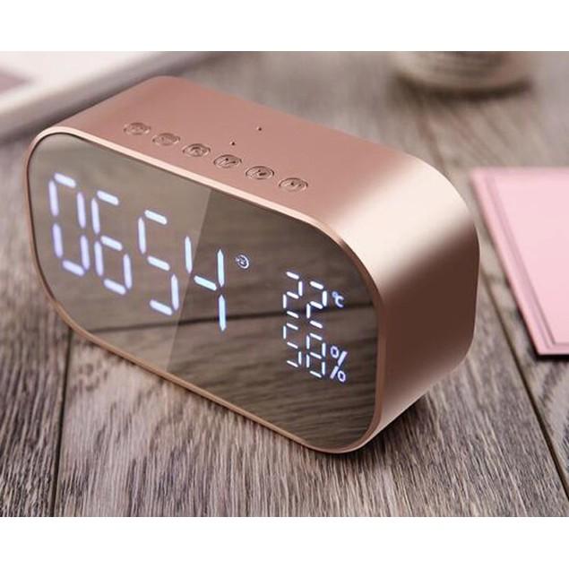 S2 Bluetooth 4.2 Stereo Speaker FM Radio Mirror Display Wireless Alarm