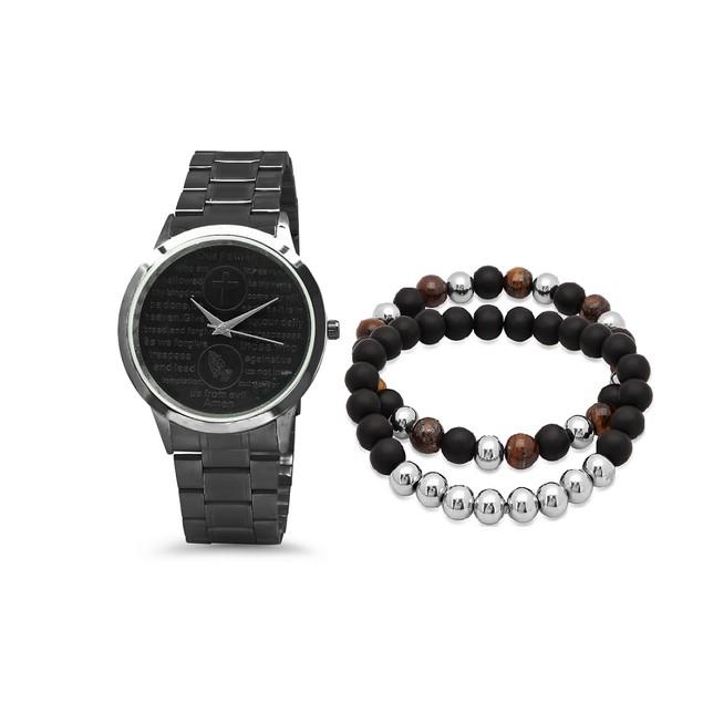 Bracelet & Watch Set W/ Tiger Eye And Black Lava Bracelet