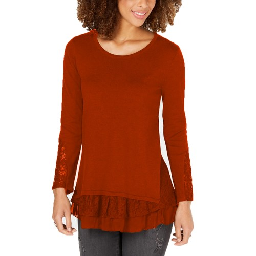 Style & Co Women's Lace Hem Tunic Sweater Camel Size Extra Small