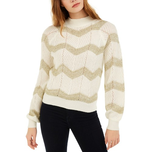 Planet Gold Juniors' Metallic Chevron Sweater White Size Small