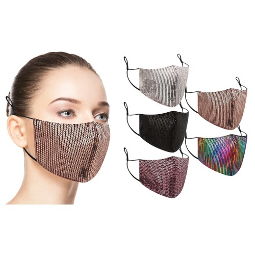 5-Pack: Fashionable Cotton Face Masks With Adjustable Ear Loops
