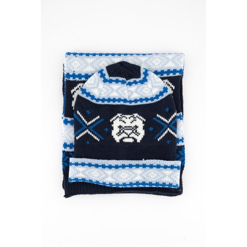 Club Room Men's Bulldog Hat & Scarf Set Blue One Size