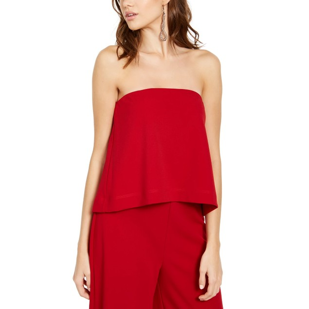 Rachel Roy Women's Isla Strapless Jumpsuit Dark Red Size X-Small