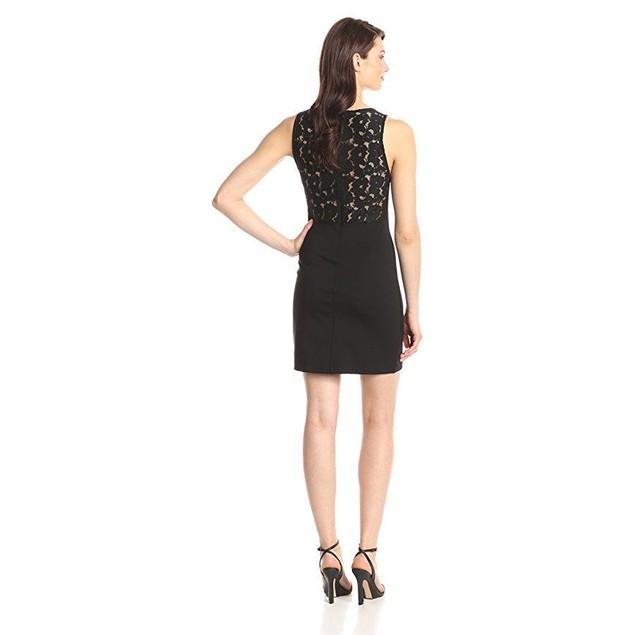 BB Dakota Women's Simi Lace Trim Ponte Dress, Black,  SZ Medium