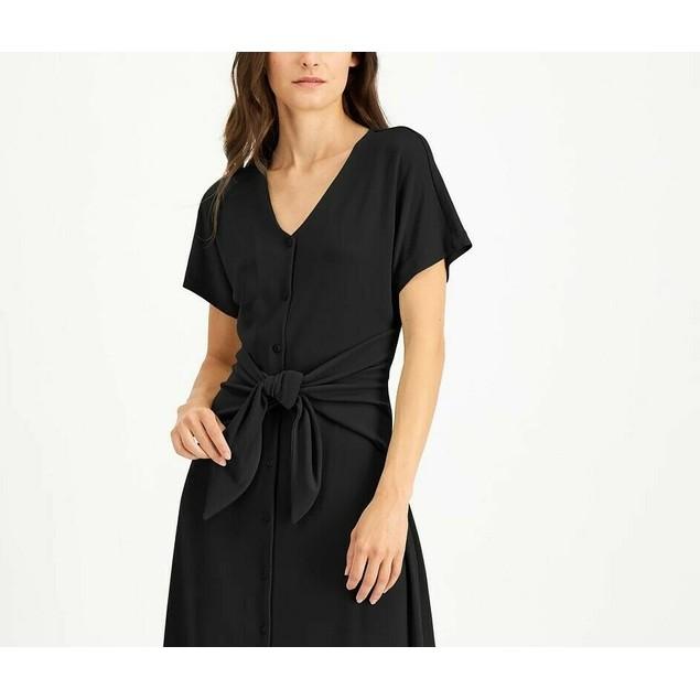 Alfani Women's Tie-Front Dress Black Size XX Large