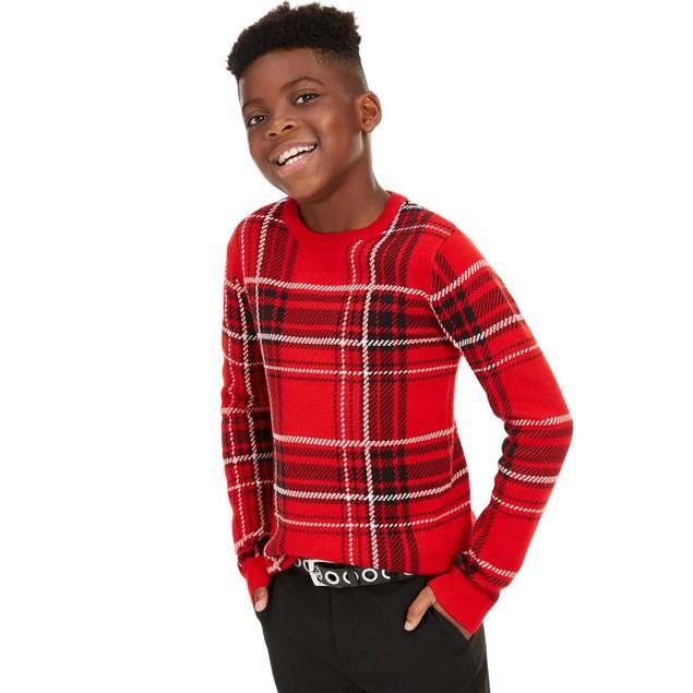 Charter Club Big Boy's Plaid Family Sweater Medium Red Size Small