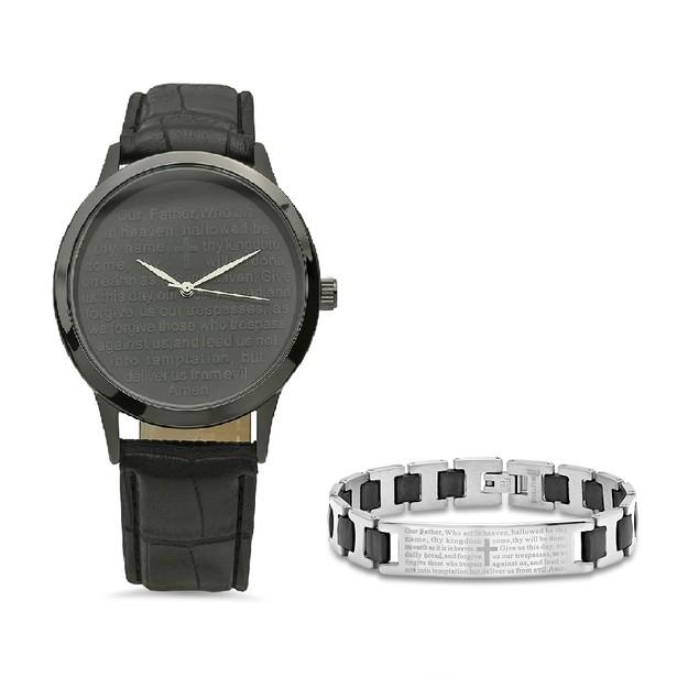 Bracelet & Watch Set W/ Steel Prayer Black Rubber Link Bracelet
