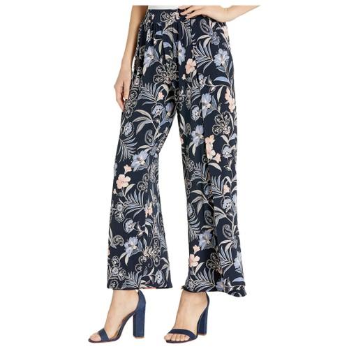 1.State Women's  Paisley Fields Envelope Hem Wide Leg Pants Blue Size Large