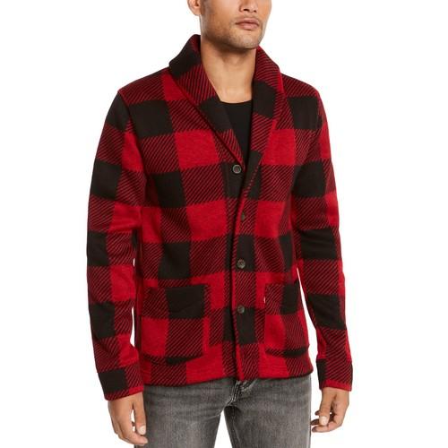 Levi's Men's Trouss Regular-Fit Buffalo Plaid Cardigan Red Size Medium