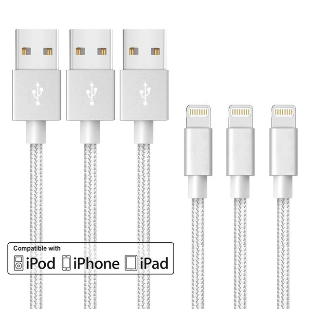 3-Pack MFI Apple Certified 10-Foot Braided Lightning Cables
