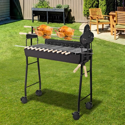 Outdoor Rotating Barbeque Cooking Grill w/4 Wheels & High-Temperature Limit
