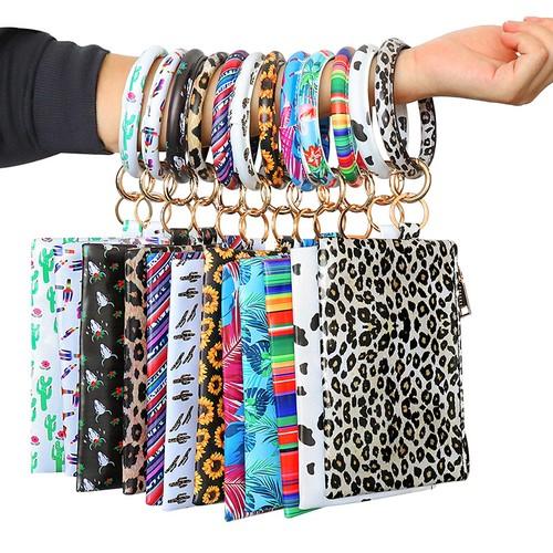 PU Bracelet Ladies Key Chain Bracelet Wallet Mobile Phone Bag
