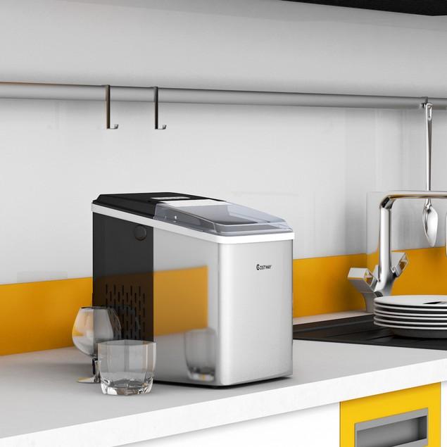 Costway Stainless Steel Ice Maker Countertop 26Lbs/24H Self-Clean Function