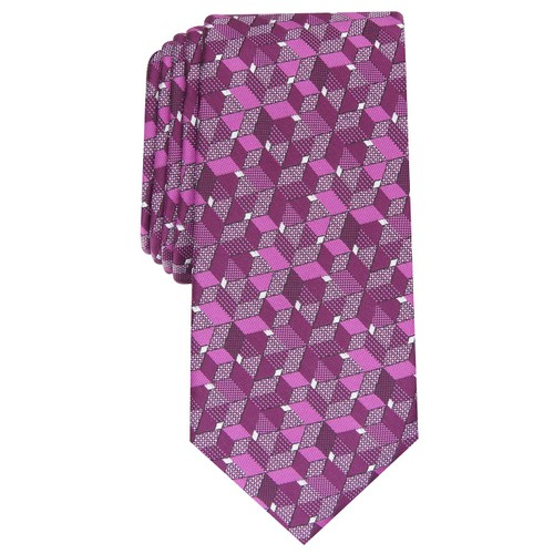 Alfani Men's  Slim Geo Tie Pink One Size