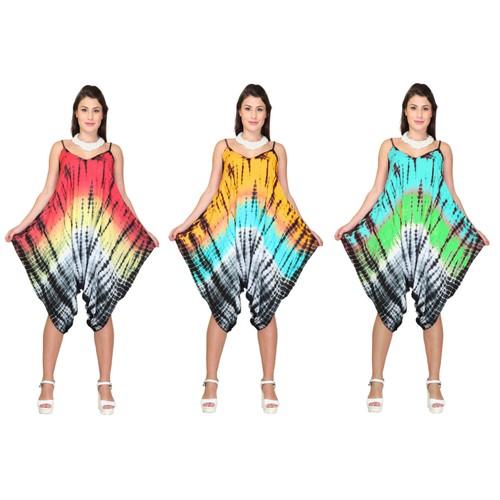 Women Tie-Dye print Jumpsuit Romper Summer Print Sleeveless wide leg Romper