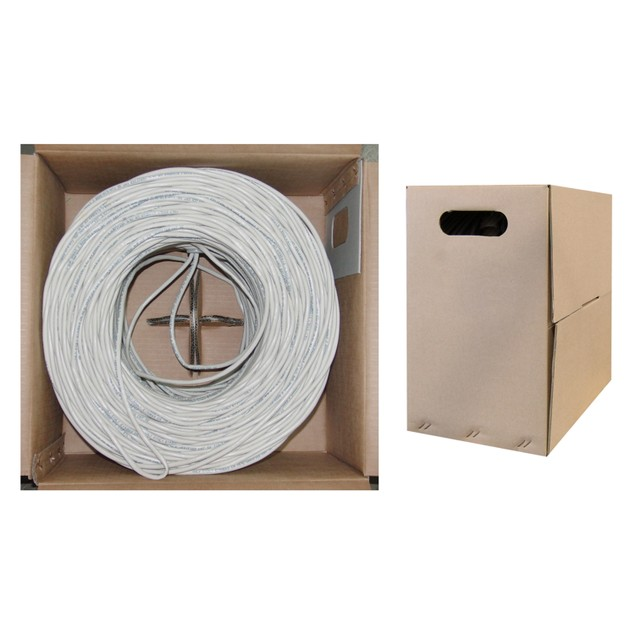 Bulk Cat6 White Ethernet Cable, Solid, UTP Pullbox, 1000 foot