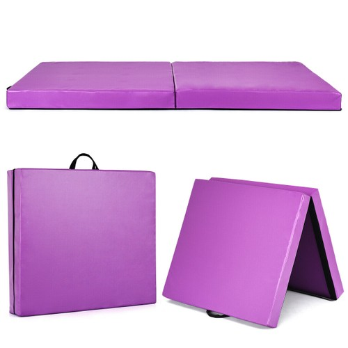 6''x3.2'' Gymnastics Yoga Mat Thick Two Folding Panel Purple Portable
