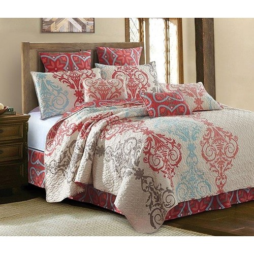2PC Portofino Printed Quilt King/Queen Size Polyester Bed Sheet 2 Shams Set