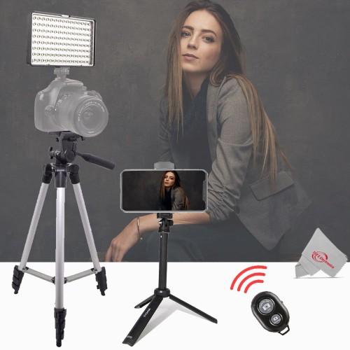 "Vivitar Dimmable Brightness 160 LED Video Light + 50"" Tall Tripod + Vivitar 13"" Foldable Pocket Tripod with Wireless Remote and Smart Phone Bracket"