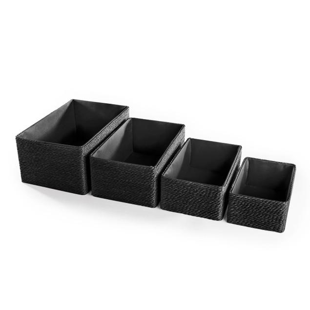 Paper and Cotton Makeup Closet Storage Boxes - Set of 4 | MandW Black