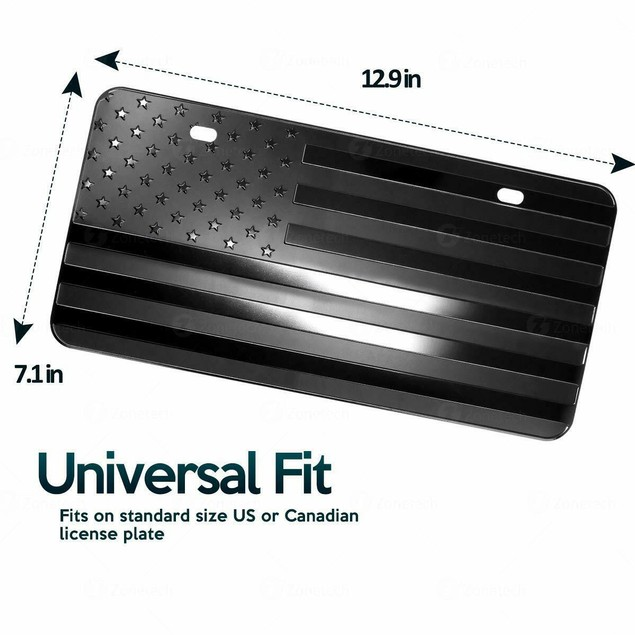 Zone Tech Monochrome USA Flag License Plate Cover Embossed Steel