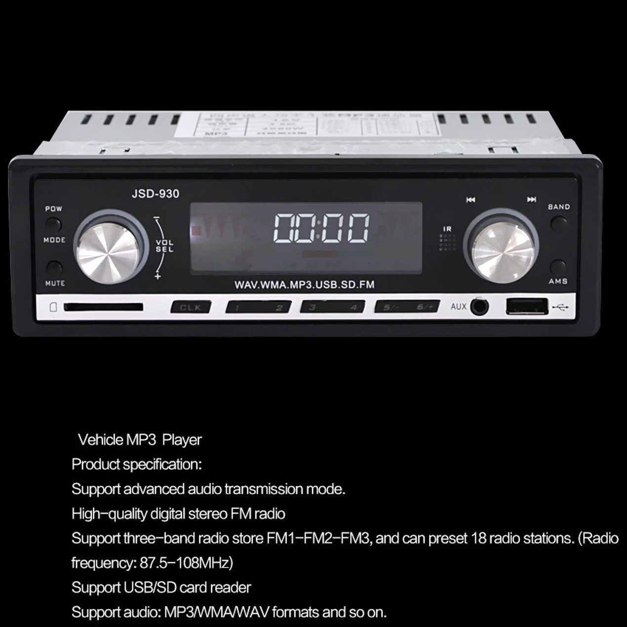 DWO JSD-930 MP3 Player Car Stereo Audio Player FM Aux In