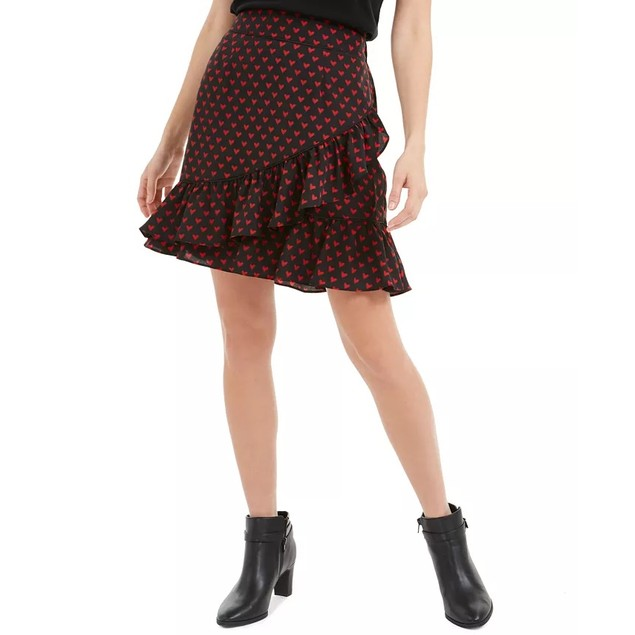 Maison Jules Women's Printed Cross-Ruffled Skirt Black Size XX Large