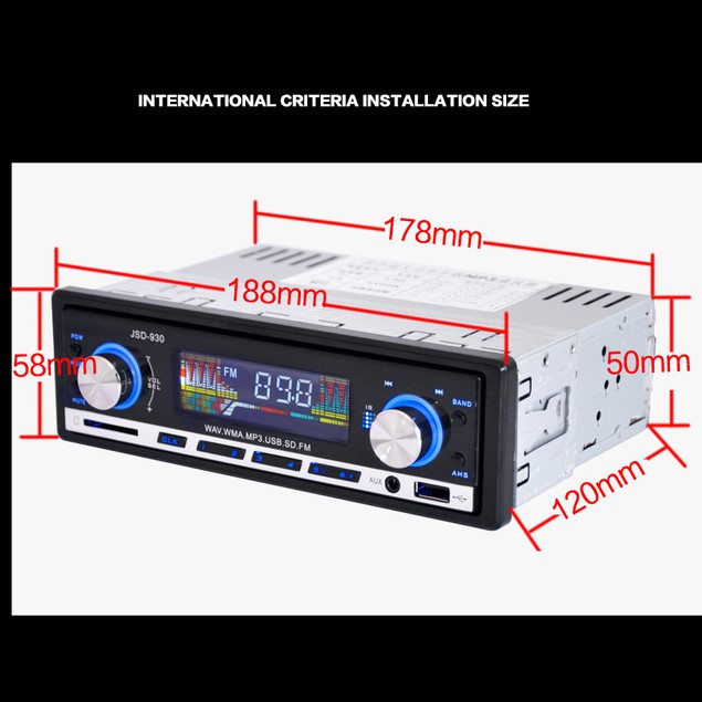 DWO JSD-930 MP3 Player Car Stereo Audio Player FM Aux In-Dash