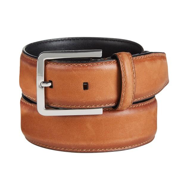 Calvin Klein Men's Burnished-Edge Leather Belt Beige Size 34 Regular