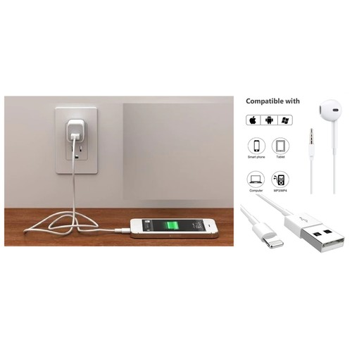 Wall, Lighting Cable & Headphone in Bulk - White