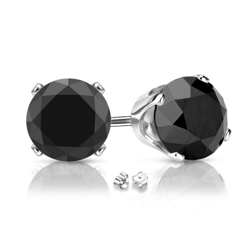 Sterling Silver Round 12mm Black Cubic Zircon Studs Post Earrings