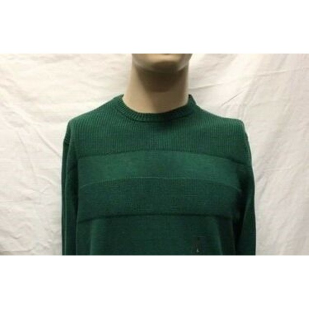 Club Room Men's Cotton Solid Textured Crew Neck Sweater Green Size Large