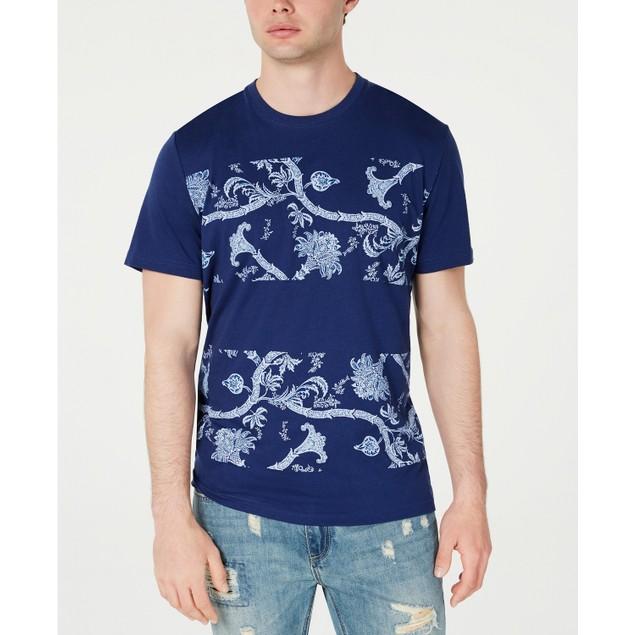 American Rag Men's Colorblocked Floral T-Shirt Navy Size Medium