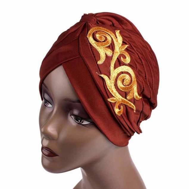Women Embroidery Beanie Scarf Turban Head Wrap Cap G