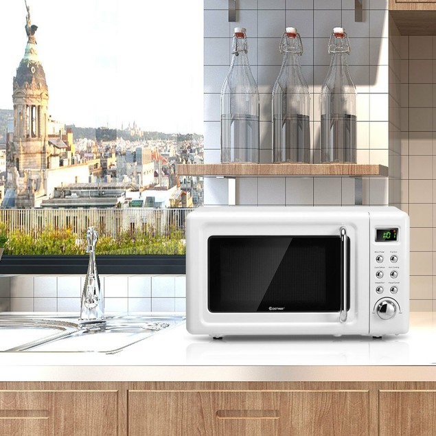 Costway Retro Countertop Microwave Oven w/ 700W LED Display  $99.99