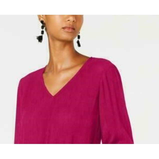 INC International Concepts Women's Gauze Tie-Front Top Pink Size Medium