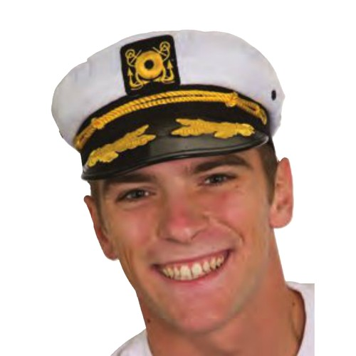 White Yacht Captain Hat With Scrambled Eggs
