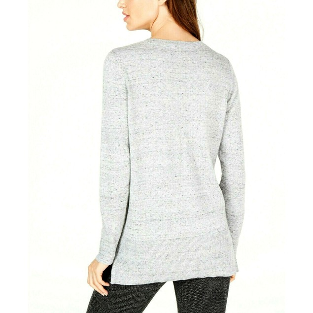 Maison Jules Women's Cotton V-Neck Tunic Sweater Gray Size Extra Small
