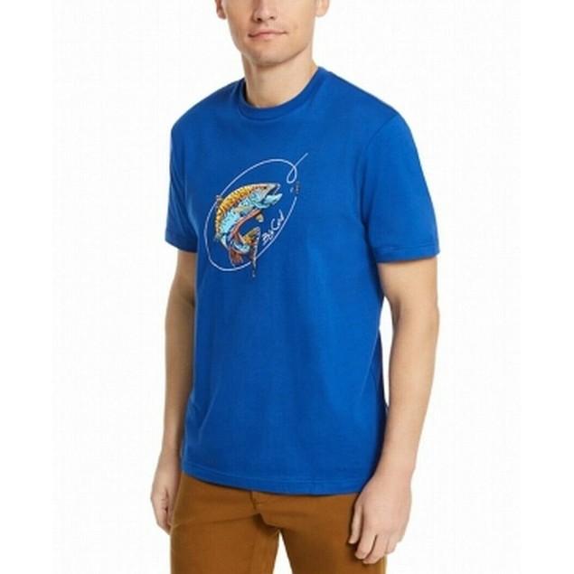 Club Room Men's Big Catch Graphic T-Shirt Blue Size Medium