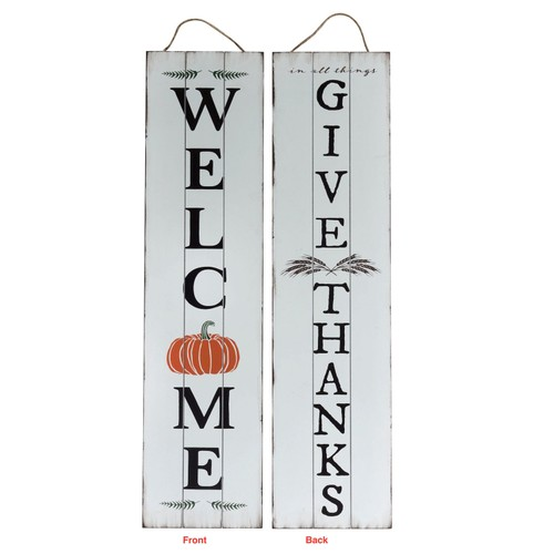 Reversible 2 Sided Wood Give Thanks Porch Sign - Multicolored