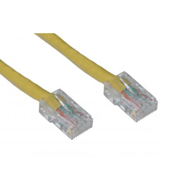 Cat6 Yellow Ethernet Patch Cable, Bootless, 14 foot