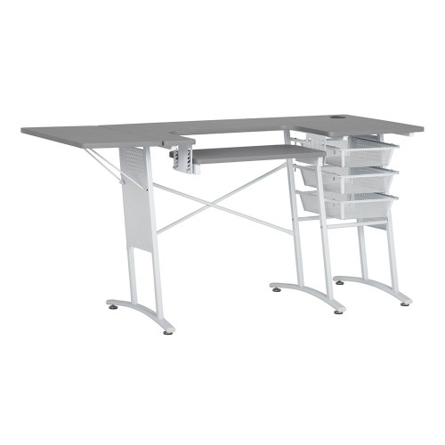 Offex Sewing, Hobby, Computer Table with Folding Side Shelf and Wire Mesh Drawer - White, Grey Concrete