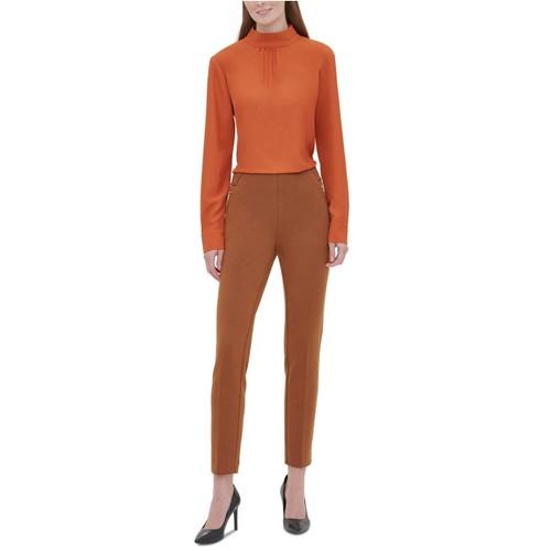 Calvin Klein Women's Ponte Knit Zip Pocket Pull-On Pants Brown Size 4
