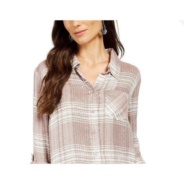 Style & Co Women's Sparkle Plaid Shirt Beige Size Large