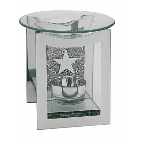 Mirror Crystal Oil Burner Star Design By Lesser and Pavey