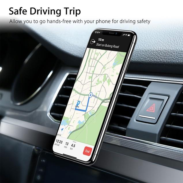 Combo:  Magnetic Car Air Vent Mount & Vegan Leather Cradle Phone Holder